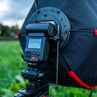 My Sigma EF630 flash mounted on one of the Cactus triggers and in the softbox